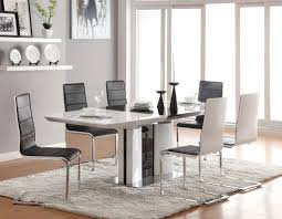 black leather chairs with solid wooden white dining table for