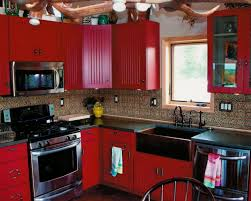 red kitchens with white cabinets a contemporary kitchen with red