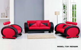 vig furniture 7391 modern bonded leather black and red 3 pc living