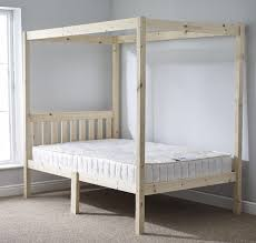 4ft small double four poster solid pine bed frame