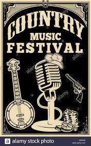 country music festival poster old style microphone cowboy boots