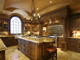 decor kitchen cabinets and chandelier with arched window