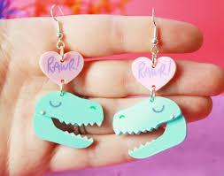 t rex earrings t rex earrings in pink i crafty