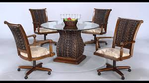 kitchen table sets with caster chairs of dining room on wheels