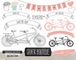 bicycle wedding invitation tandem bicycle pink hand drawn vector clip art wedding