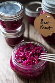 beet and cabbage sauerkraut feasting at home