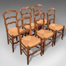 antique french oak country kitchen dining chairs set 6 quality