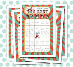 circus baby shower bingo printable carnival bingo digital file
