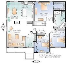 plan de maison de plain pied 3 chambres dé du plan de maison unifamiliale w2185 v1
