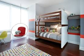 bedroom bunk beds with drawers bright yellow pillows kids wall