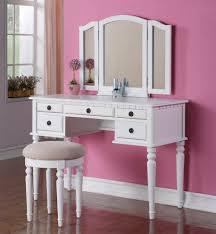 Bedroom Makeup Vanity Set Bedroom Beautiful Vanity Set With Mirror And White Stool Finish