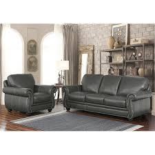 Abbyson Living Austin  Piece Leather Sofa Set In Gray SK - Sofa austin 2