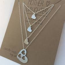 Mother Daughter Keepsakes Mother Daughter Necklace Set Mother 3 Daughters Silver Hearts