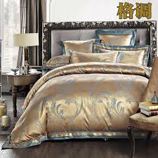 Jacquard Bed Set European Style White Jacquard Silk Cotton Bedding Sets King