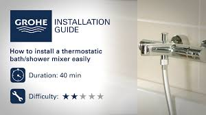 install a grohe thermostatic bath shower mixer youtube