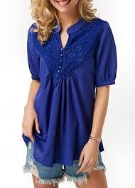 navy blue blouse lace panel split neck navy blue blouse modlily com usd 27 12