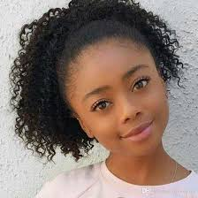 hair pony tail for african hair kinky curly human hair ponytail for girls afro ponytails
