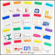 words cards 20 task cards for handwriting sight word and spelling practice