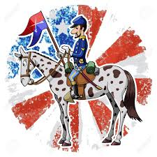 Cavalry Flag Cartoon Style Illustration United States Cavalry Soldier Riding