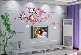 home wallpaper designs china style red peach flowers vinyl wall stickers home decor rooms