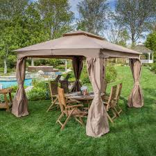 Covered Gazebos For Patios by Beautiful Creamy Vinyl Hexagon Shaped Canopy Gazebos With Soft