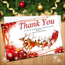 thank you cards personalised reindeer