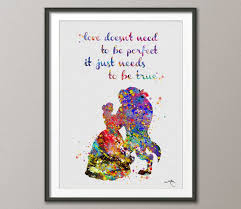 wedding gift quotes beauty and the beast quote disney princess watercolor