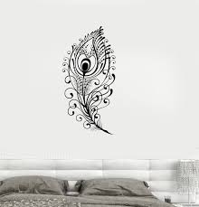 vinyl decal peacock feather beautiful wall sticker living room vinyl decal peacock feather beautiful wall sticker living room decor girls room decoration ig2651