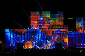 circle light for video international festival circle of light laser video mapping show on