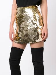 trina turk metallic sequined skirt gold women clothing straight