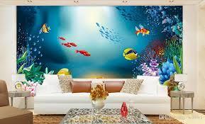 decor painting 3d wallpaper custom photo non woven mural cartoon fish sea aquarium
