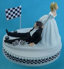 themed wedding cake toppers checkered flag car auto racing fan themed wedding cake topper