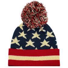 American Flag Skull Vintage Red White U0026 Blue American Flag Knit Pom Pom Beanie Hat U2013 Ld
