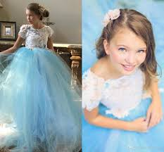 beautiful sky blue tulle gown prom dress girls long toddler party