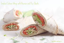 boursin cuisine smoked salmon wrap with boursin and pea shoots sprinkles and sauce