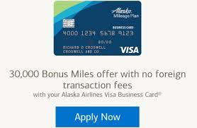 Visa Business Card Alaska Airlines Business Card 30k Miles Sign Up Bonus Danny The