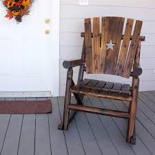Patio Rocking Chairs Wood Shop Char Log Charred Wood Patio Rocking Chair At Lowes
