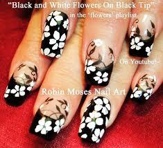 flower nails diy black and white flower nail art design tutorial