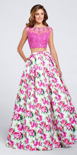 dj a5265 two piece print prom dress with lace top and pockets