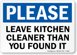 Memes Kleen Kitchen - kitchen signs keep kitchen clean signs kitchen courtesy signs
