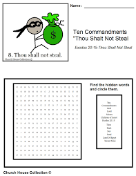 ten commandment coloring pages church house collection blog thou shalt not steal word search