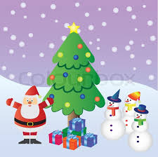 santa claus with presents near christmas tree and three snowmen