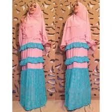 Baju Muslim Ukuran Besar gamis set bergo baju gamis bergo 7841 rihana syari pink 085 791