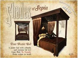 4 Poster Bed With Curtains Second Life Marketplace Noctis Shades Of Sepia Gothic 4 Poster Bed