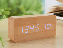 Wood Clock Sea Team Wood Imitation Electronic Desk Clock Gadget Flow