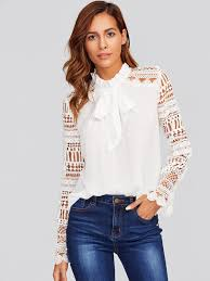 blouse with tie neck geo lace sleeve frilled tie neck blouse shein sheinside