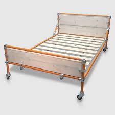 Loft Style Bed Frame Metal Bed Frame With Storage Space Below Modern Industrial Loft