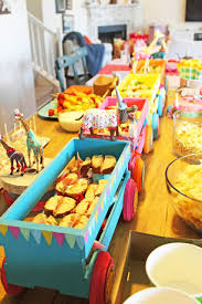 circus baby shower circus animals circus wagons food table