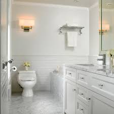 Beveled Subway Tile Shower by Carrara Marble Subway Tile Bathroom Traditional With Beveled