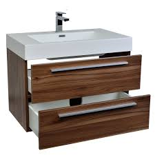 32 In Bathroom Vanity Buy 31 5 In Wall Mount Contemporary Bathroom Vanity Set In Walnut
